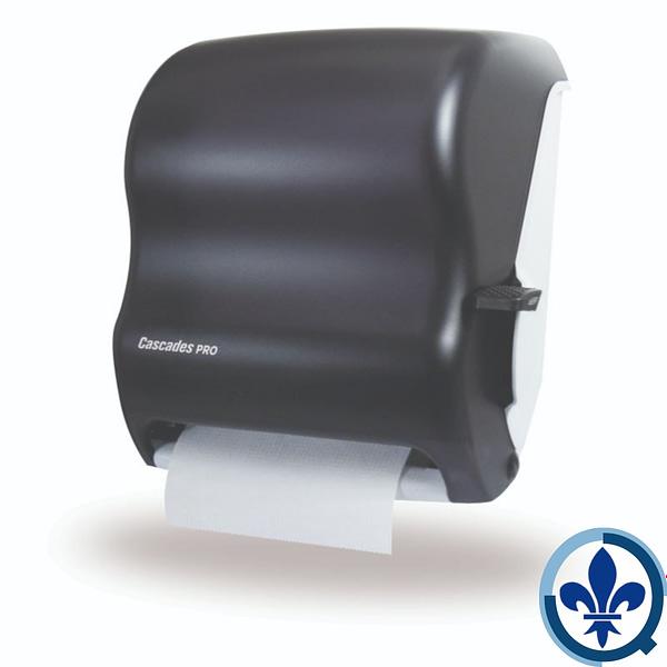 Distributeur-universel-d-essuie-mains-en-rouleau-avec-levier-Cascades-PRO-noir-DH37_Quorum_Universal_Dispenser_Product